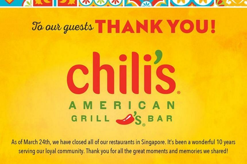 In a Facebook post on March 25, Chili's Singapore announced the closure of all its restaurants here and thanked its patrons.