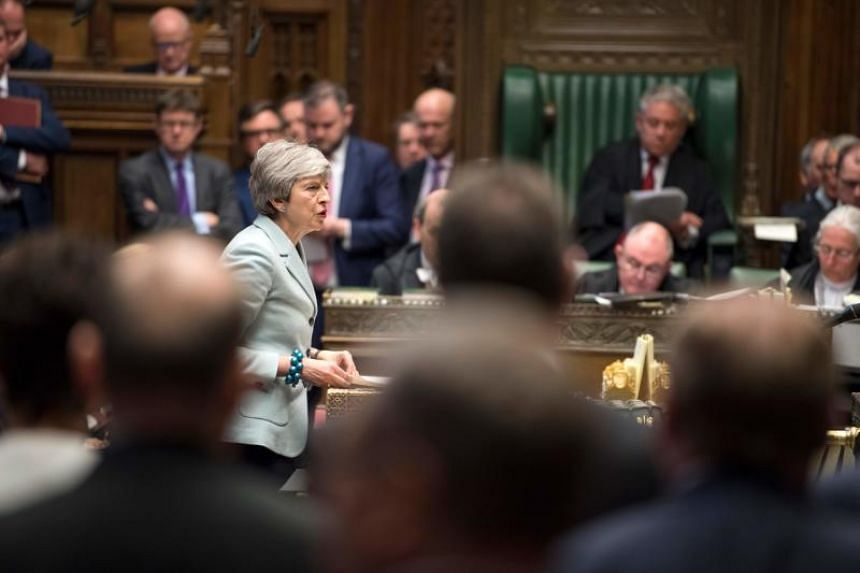 British Prime Minister Theresa May making a statement in the House of Commons in London on March 25, 2019.