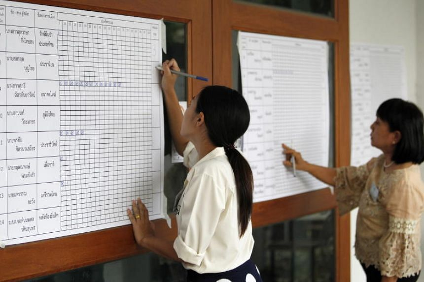 Thai electoral officials fill in the results of the general election, at a polling station in a temple in Chiang Mai province, northern Thailand on March 24, 2019.