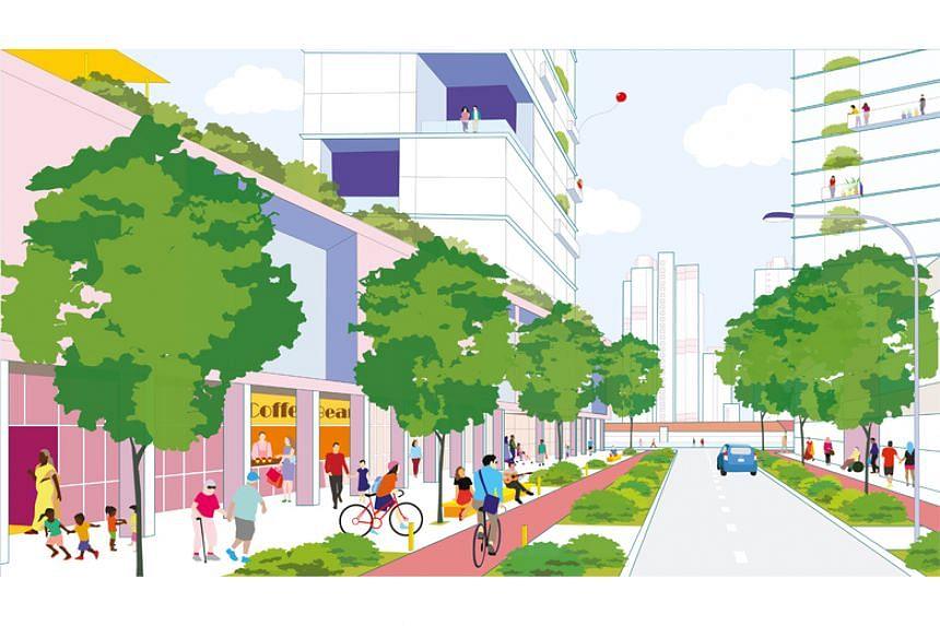 An artist's impression of an urban neighbourhood at Anson Road.