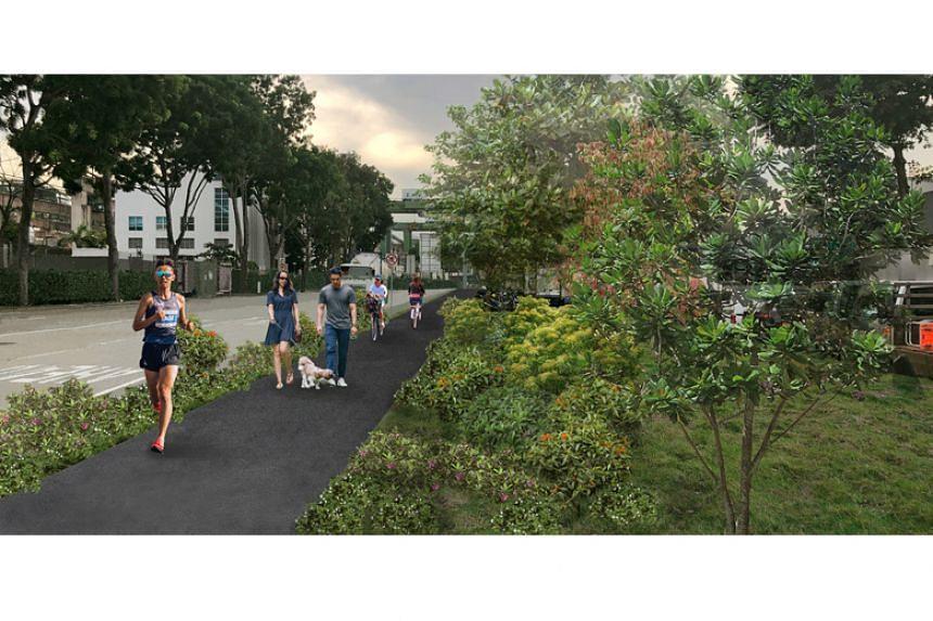 An artist's impression of the future Pasir Panjang Linear Park.