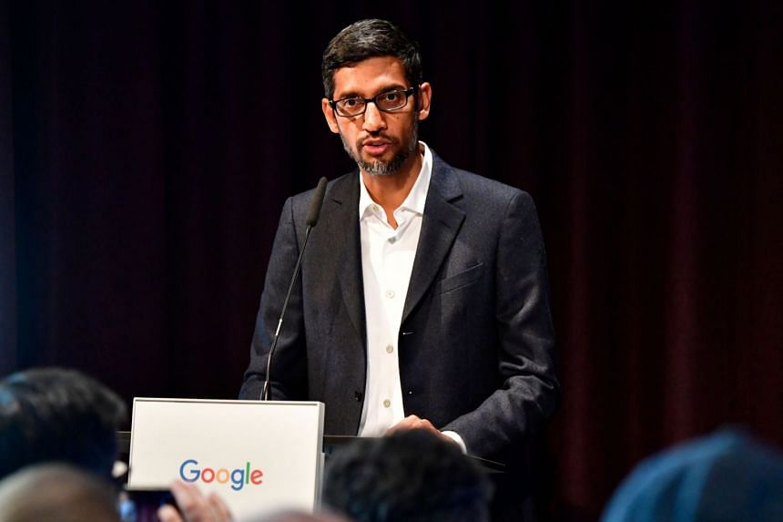 Google CEO Sundar Pichai speaks during the opening day of a new Berlin office of Internet giant Google, on Jan 22, 2019.