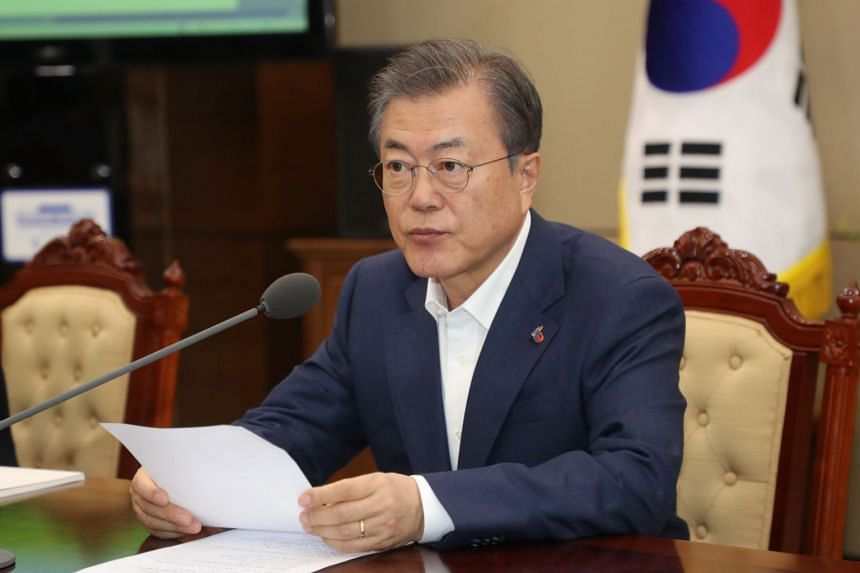 South Korean leader Moon Jae-in (pictured) has repeatedly had to play the role of mediator amid escalating threats between US President Donald Trump and North Korean leader Kim Jong Un.