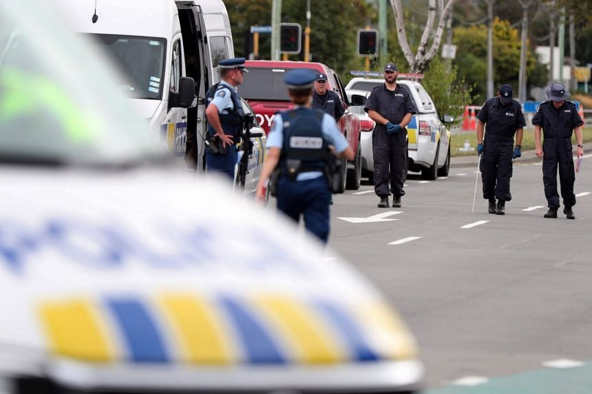 Police search the area close by the Linwood Ave Mosque in Christchurch, New Zealand, on March 16, 2019.