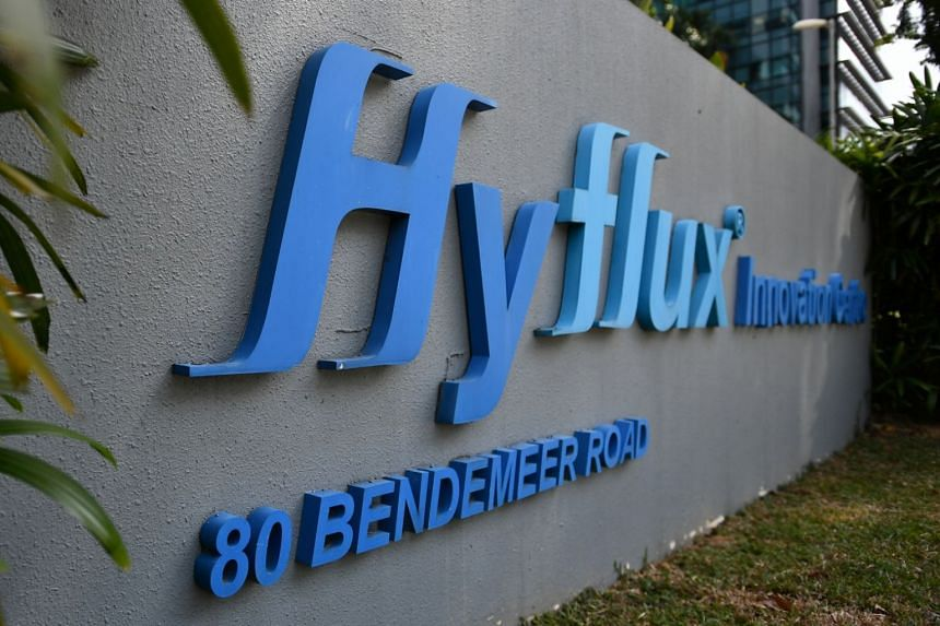 The Hyflux logo outside the Hyflux Innovation Centre located at 80 Bendemeer Road, on Feb 16, 2019.