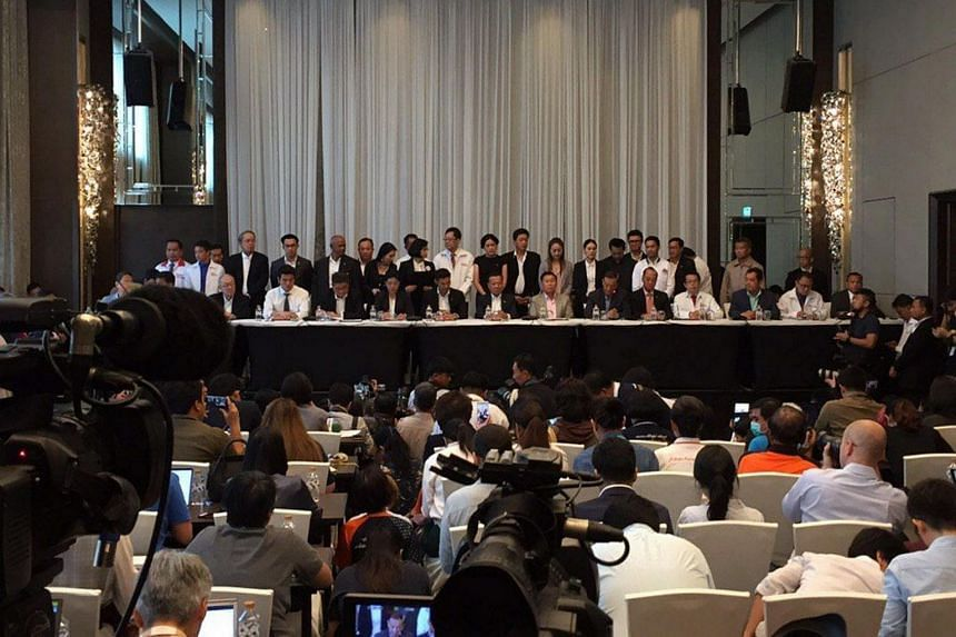 A press conference announcing pro-democracy parties led by Pheu Thai and their intention to form the government at the Lancaster Hotel in Bangkok.