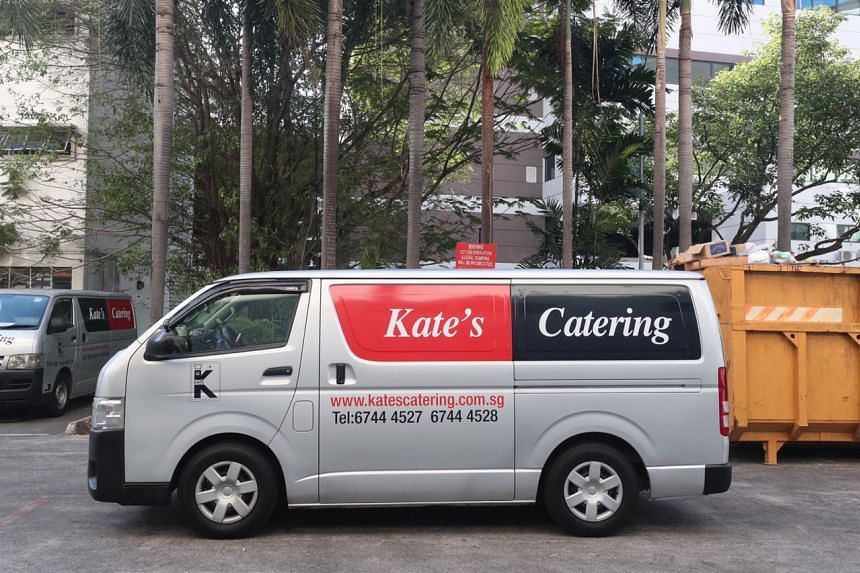 A van from Kate's Catering parked outside its Kampong Ampat premises on March 27. The caterer has been ordered to suspend its operations while investigations by the authorities are ongoing.