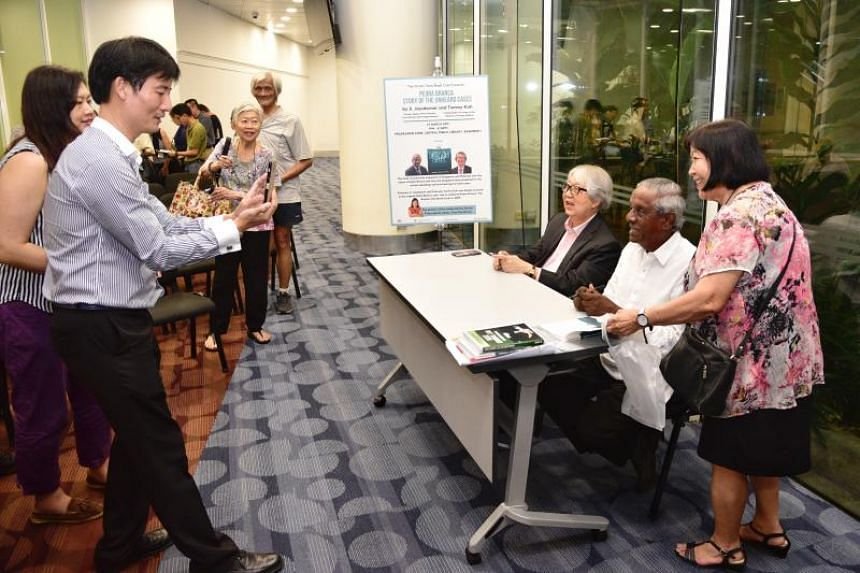 (From right) Madam Rosalind Kho, 77, poses with Professor S. Jayakumar and Professor Tommy Koh at the National Library on March 27, 2019.