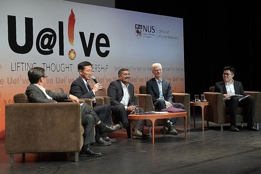 Education Minister Ong Ye Kung with (from left) Yale-NUS College president Tan Tai Yong, panel moderator Viswa Sadasivan, Organisation for Economic Cooperation and Development director for education and skills Andreas Schleicher, and Yale-NUS College