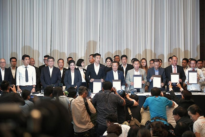 The seven-party pro-democracy Thai coalition led by Pheu Thai Party called for a press conference yesterday to announce their intention to form the government, claiming that they have won a majority of Lower House seats in Sunday's general election.