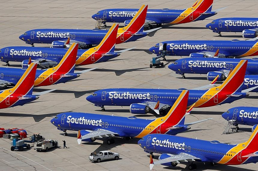 Grounded Southwest Airlines Boeing 737 Max 8 aircraft at Victorville Airport in California on Tuesday. The aircraft type has been grounded globally following two fatal crashes that killed nearly 350 people.
