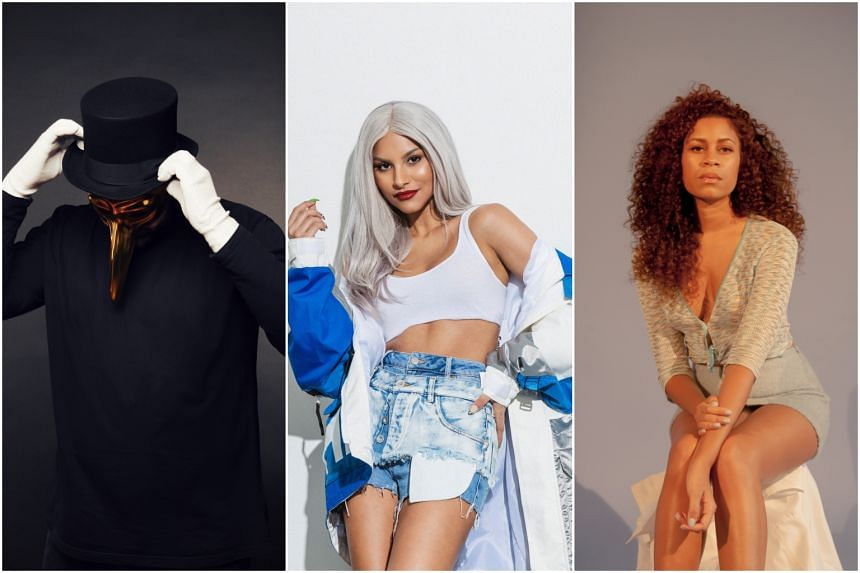(From left) Some of the artists who will be performing at upcoming shows in Singapore include German DJ and producer Claptone, home-grown musician Tabitha Nauser and British singer Aluna Francis.