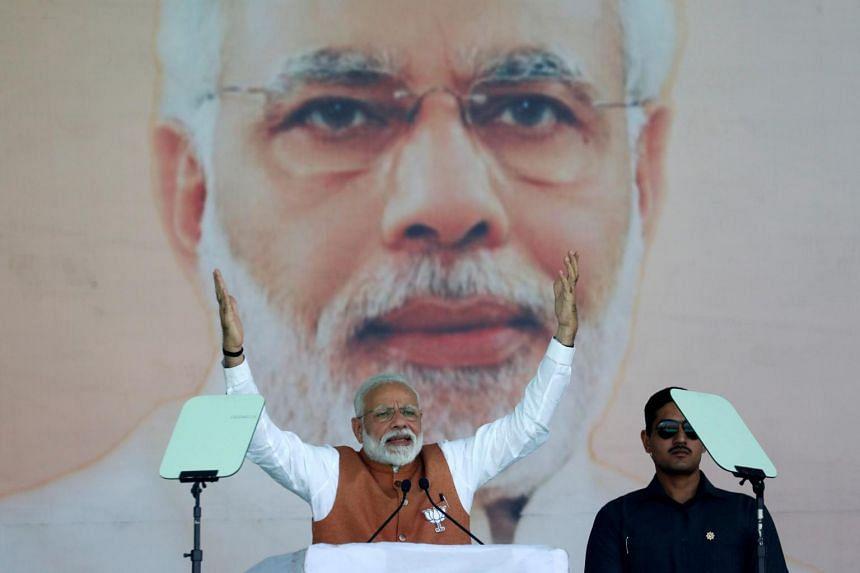 India's Prime Minister Narendra Modi addresses an election campaign rally in Meerut in the northern Indian state of Uttar Pradesh, India, on March 28, 2019.