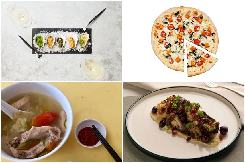 (Clockwise from top left) Oysters at Hama Hama, Wicked Veg pizza at Alt Pizza, Roasted Cauliflower Salad at Strangers' Reunion and stewed duck at Soh Food's.
