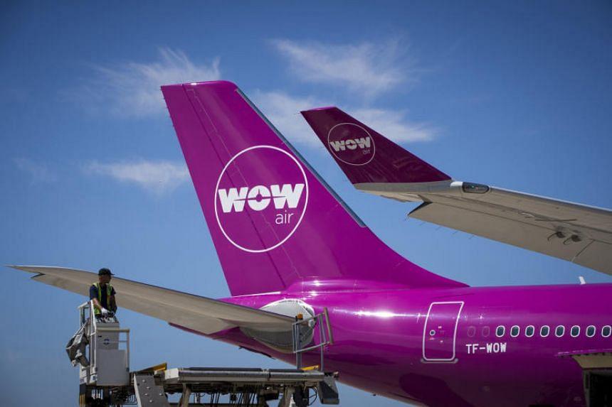 A WOW Air plane on the tarmac of Roissy-Charles de Gaulle Airport, north of Paris, in 2018.