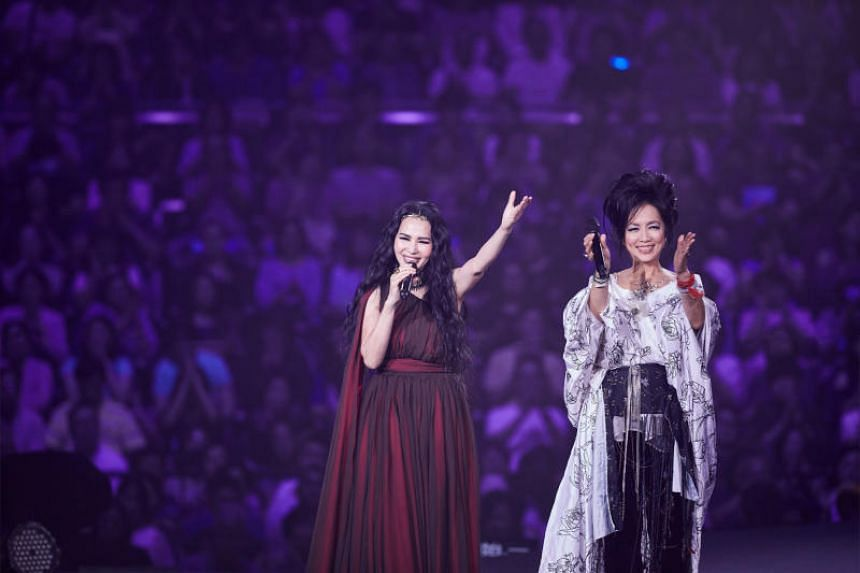 Taiwanese singers Chyi Yu (right) and Michelle Pan, during a concert at the Taipei Arena in June 2018.