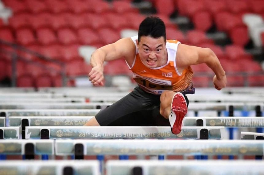 Ang Chen Xiang clocked 14.27 seconds during the heats of the Singapore Open Track and Field Championships on March 28, 2019.