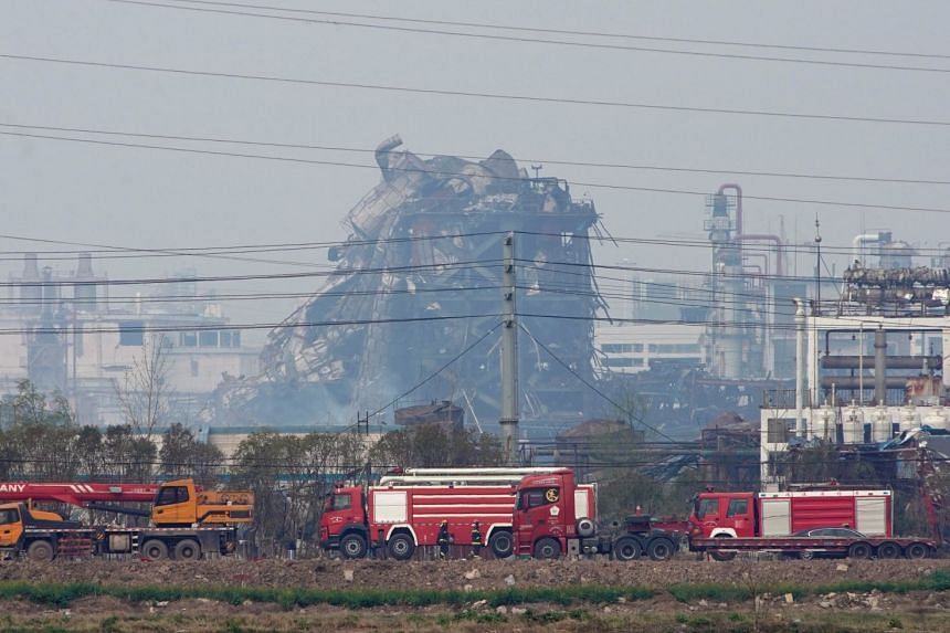 Damaged buildings are seen on the site following an explosion at a pesticide plant owned by Tianjiayi Chemical, in Xiangshui county, Yancheng, Jiangsu province, China, on March 23, 2019.