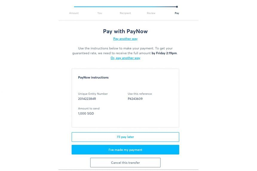 To make transactions using PayNow on TransferWise, users need to input the company's unique entity number to their PayNow app or scan a QR code provided.