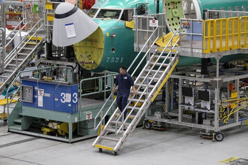 Boeing 737 planes are pictured on the company's production line, on March 27, 2019, in Renton, Washington.