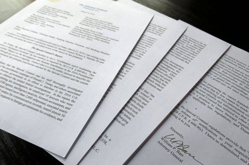 """Attorney-General William Barr sent a four-page summary to Congress on Sunday, offering what he called the """"principal conclusions"""" of Mr Robert Mueller's repert."""