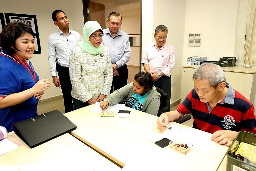 President Halimah Yacob visited the Thye Hua Kwan Home for Disabled at Sembawang yesterday and interacted with the residents aged between 16 and 55. Most of them are on long-term residential care and have been diagnosed with intellectual disabilities