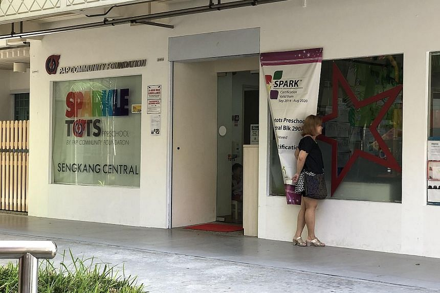 The number of PCF Sparkletots centres affected by food poisoning now stands at seven, including this one at Block 290A in Sengkang Central.