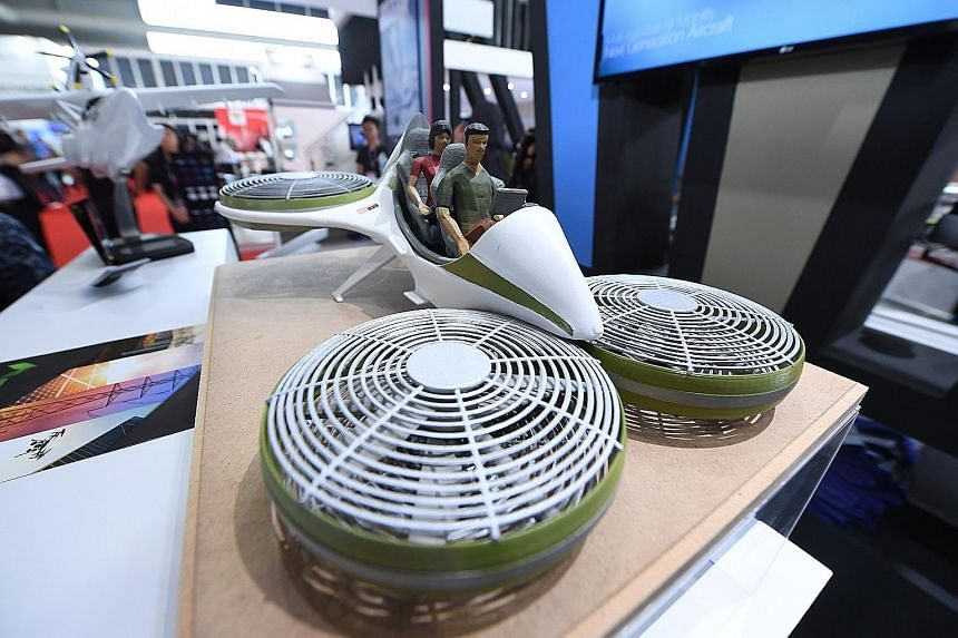 The Vector, a scale model of a drone-concept vehicle, making its debut at the Langkawi International Maritime and Aerospace 2019 exhibition.