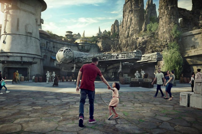 An area of Disney Star Wars: Galaxy's Edge is scheduled to open May 31, 2019 at Disneyland Park in Anaheim, California. The construction site swallowed up the last remaining smoking area.