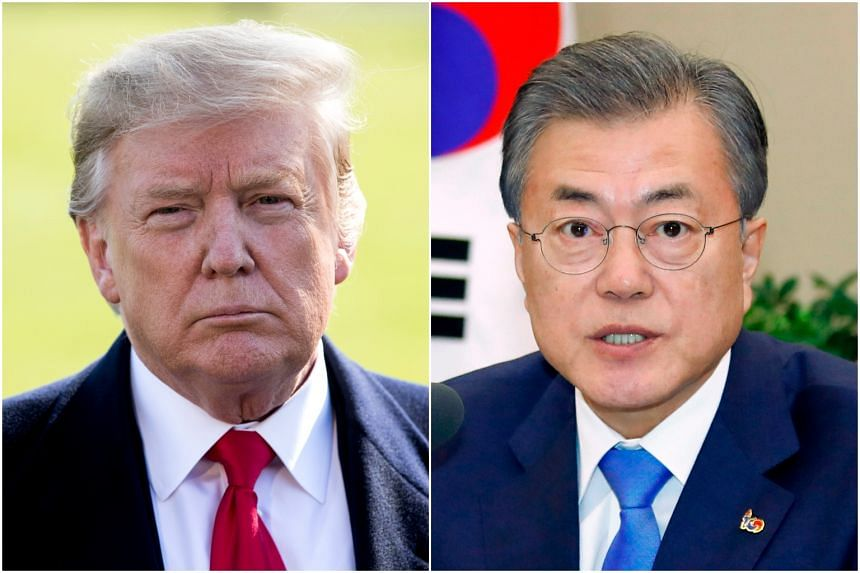 US President Donald Trump (left) and South Korean President Moon Jae-in are expected to discuss the stalled talks between the US and North Korea.