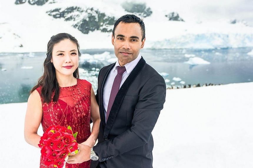 Mr Joedha Ghosh and Ms Eunice Yeo sailed for two days from Argentina to Antarctica to get married in the world's wildest continent.