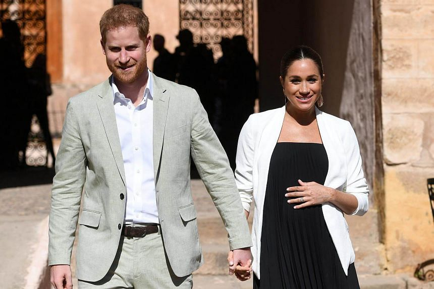 Britain's Prince Harry and American wife Meghan Markle visiting the Andalusian Gardens in Rabat, Morocco, on Feb 25, 2019.
