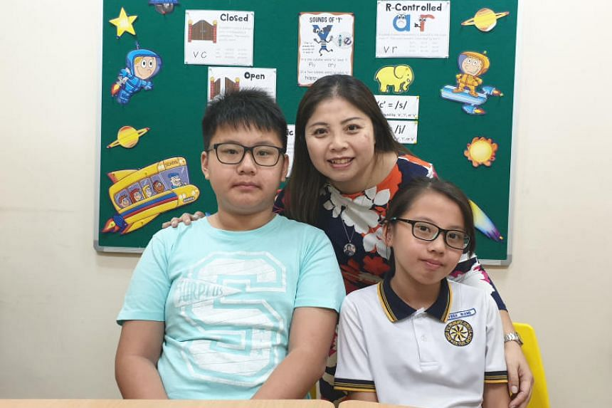 Both of Doreen Fong's children have dyslexia - her son Zachary Wang, 14, and her daughter Alyssa Wang, 11.
