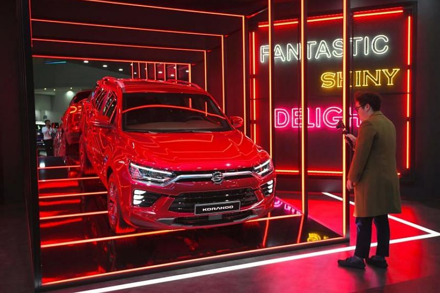 Ssangyong Motor's Korando at a press preview of the Seoul Motor Show in Goyang, South Korea, on March 28, 2019.