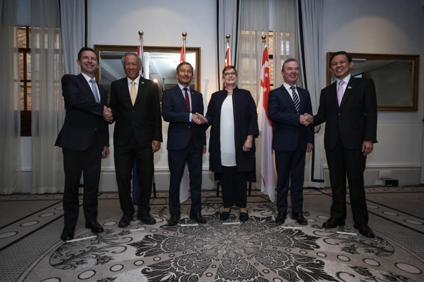 (From left) Australian Minister for Trade, Tourism and Investment Simon Birmingham, Minister for Defence Ng Eng Hen, Minister for Foreign Affairs Vivian Balakrishnan, Australian Foreign Minister Marise Payne, Australian Minister for Defence Christoph