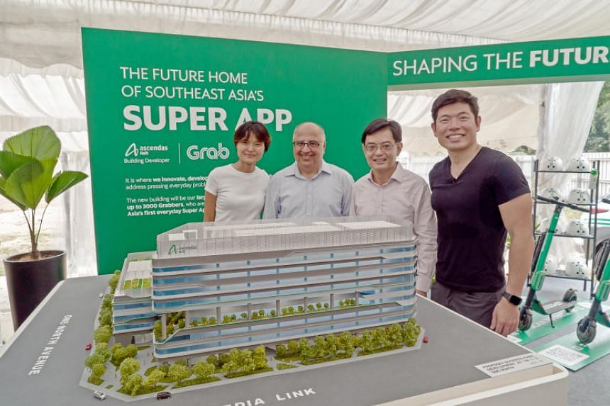 (From left) Grab co-founder Tan Hooi Ling, Ascendas-Singbridge deputy group chief executive Manohar Khiatani, Finance Minister Heng Swee Keat and Grab chief executive Anthony Tan at the groundbreaking ceremony for Grab's new headquarters.