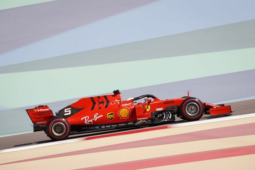 Vettel in action during the first practice session.