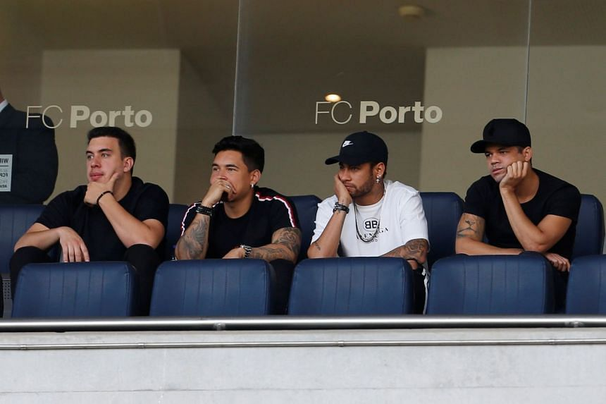 Neymar watches from the stands as Brazil play Panama in a friendly.