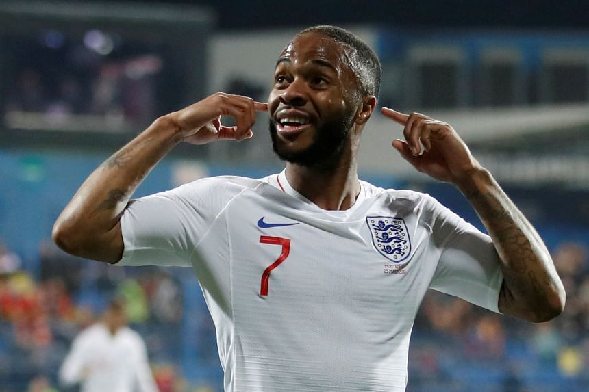 Raheem Sterling celebrates scoring England's fifth goal against Montenegro in the Euro 2020 qualifiers.