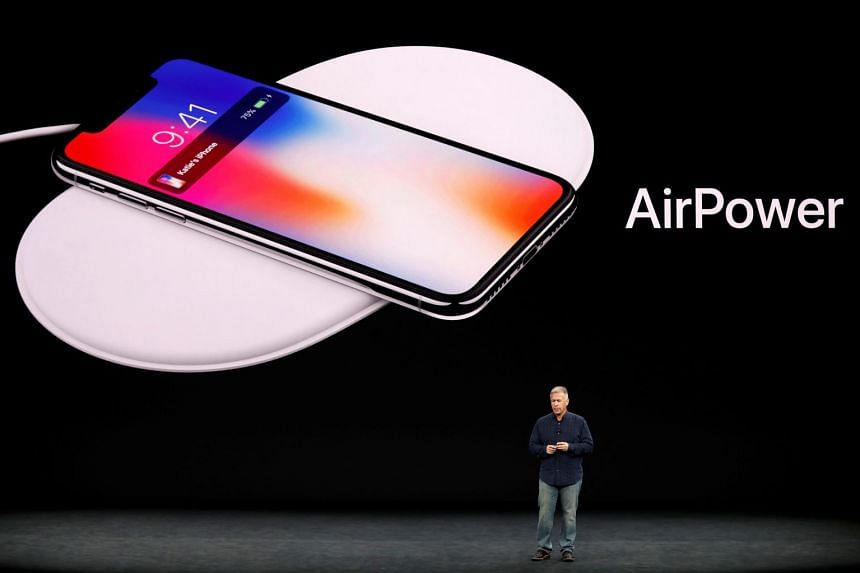 The AirPower wireless charging mat is seen during an Apple launch event in 2017.
