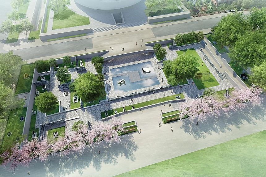 A rendering of the redesigned sculpture garden.