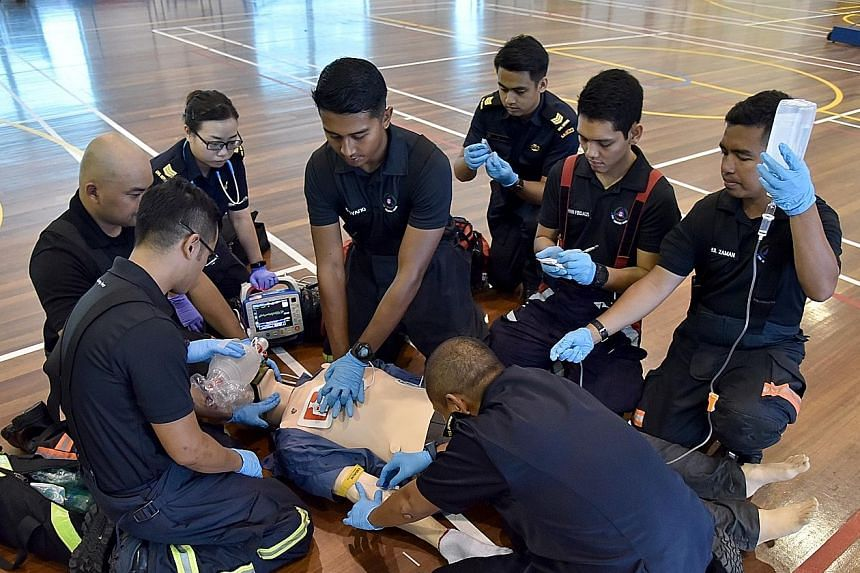 From Monday, the SCDF will start deploying eight responders to cardiac arrest cases instead of four. They are trained in high-performance cardiopulmonary resuscitation which increases the survival rate for patients with cardiac arrests outside hospit