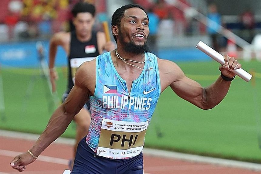 Eric Cray, the 2015 SEA Games 100m champion, anchoring the Philippine team to win the 4x100m relay in 39.72sec at the Singapore Open yesterday. He finished eighth in the 100m final.