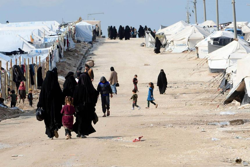 Women and children living in Al Hol Camp which houses relatives of Islamic State, in northeastern Syria, on March 28, 2019.