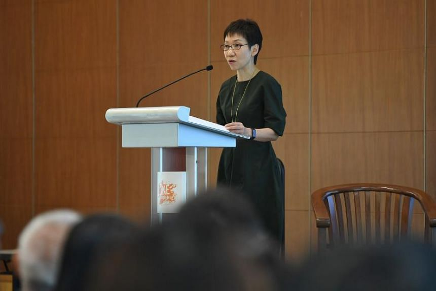 Minister for Culture, Community and Youth Grace Fu speaking at a youth forum organised by inter-faith group Roses of Peace on March 30, 2019.