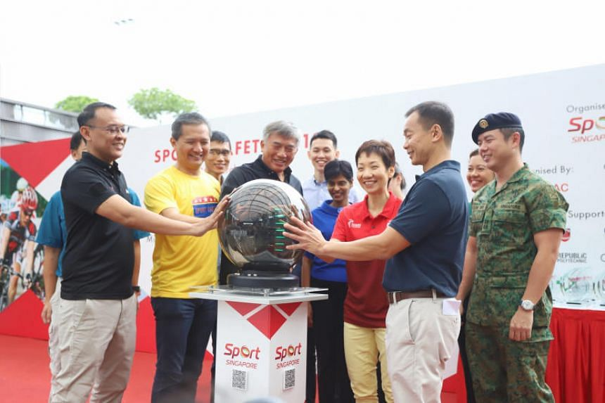 (From left) Sports Safety Committee co-chairman Muhammad Rostam Umar, Sport Singapore deputy chief executive Chiang Hock Woon, Sport Singapore chief executive Lim Teck Yin, Minister for Culture, Community and Youth Grace Fu and Sports Safety Committe