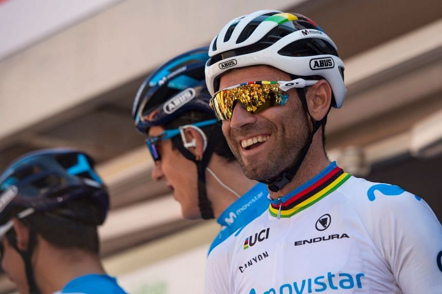 Valverde during a team presentation ahead of the 99th Volta Catalunya 2019.