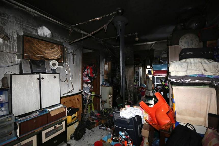 Two men who were in the burnt flat were taken to the Singapore General Hospital for minor burn injuries and bruises.