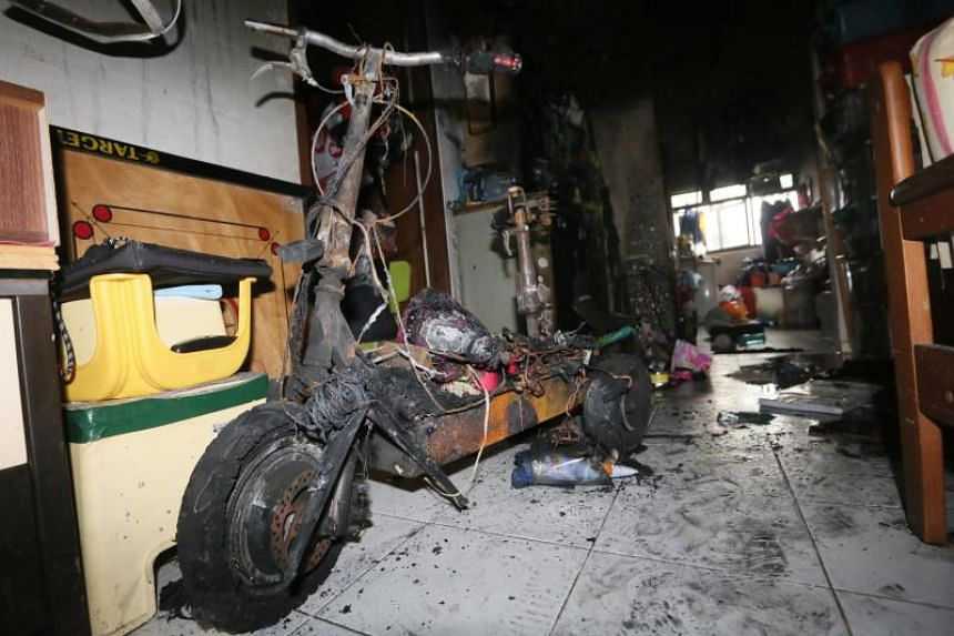 A 27-year-old man said that he was resting in the living room when he saw sparks from the electric scooter, before it burst into flames.