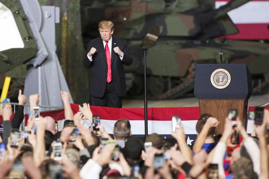 President Donald Trump speaking at a defence manufacturing plant in Ohio on his successes in the economy last week. White House officials see growth staying above 3 per cent for the next few years - and potentially for an entire decade, if he can con